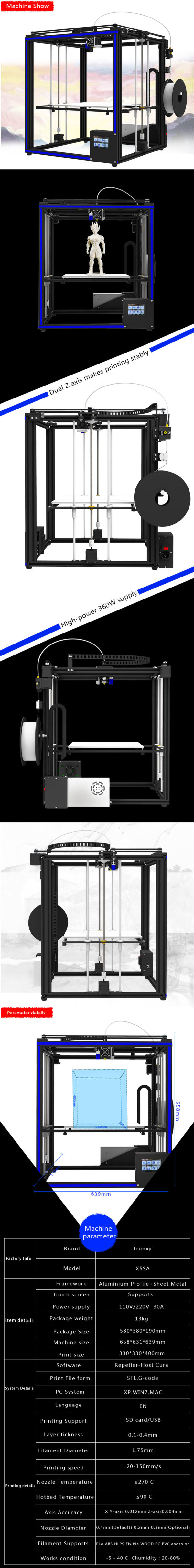 Tronxy X5SA 3D Printer (Single/Dual Extruder)