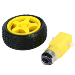 Robot Plastic DC 3V-6V Drive Gear Motor +tyre+for Tire Wheel